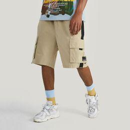 Mens Black Khaki Shorts Australia - Mens Summer Casual Elastic Waist Shorts Skateboard Streetwear Outdoor Loose Multiple Pockets Black Khaki Two Colors Shorts Drop Shipping