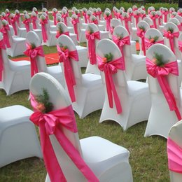 Banquet taBles chairs online shopping - 50pcs cm Satin Chair Sashes Bow table runner Wedding Party Banquet Decoration color