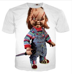 China Men Women Fashion Summer Style Haloween Movie Chucky Scarred Good Guy Doll 3D Tees Printed Short Sleeve Round Neck Casual T-shirt Tops suppliers