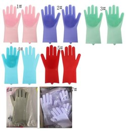 Glove Accessories Australia - Magic Silicone Gloves Cleaning Brush Non-slip Gloves Resuable Household Scrubber Dishwashing Gloves Kitchen Bathroom Tools Christmas Gift