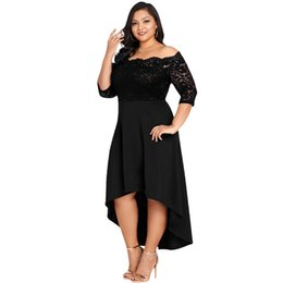 Anself Women Off Shoulder Party Dress XXXL 4XL 5XL Plus Size Maxi Summer  Dress Lace Scalloped Irregular Hem Nightclub Dress b14a71a88490