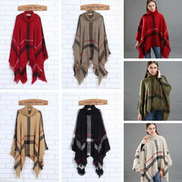 Wholesale poncho sweaters resale online - Fashion Woman Plaid Cloak Lady Grid Poncho Sweater Wraps Vintage Shawl Cardigan Tassel Knit Scarves Tartan Winter Blankets TTA1548