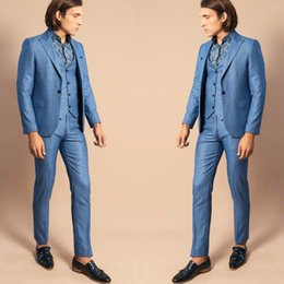 Images Fashionable Suits Australia - Fashionable Tweed Wedding Tuxedos Handsome Slim Fit One Button Men Groomsmen Business Party Prom Suits (Jacket+Vest+Pants)