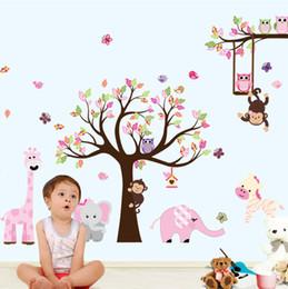 $enCountryForm.capitalKeyWord Australia - Latest Xxl Cartoon Animals Zoo Owl Butterfly Monkey Stickers For Kids Room Home Decor Colorful Tree Decal Stick On Wall Q190522