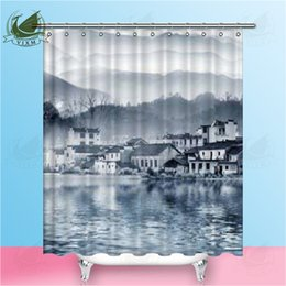 Wholesale Vixm Painting Style Of Chinese Landscape Shower Curtains Vietnam Traditional Painting Waterproof Polyester Fabric Curtains For Home Decor