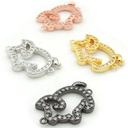 $enCountryForm.capitalKeyWord Australia - 19*12*3mm Micro Pave Clear CZ Pig Connectors Fit For Men And Women Making Bracelets Jewelry