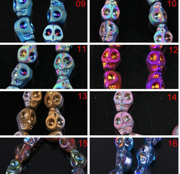 $enCountryForm.capitalKeyWord Australia - 100pcs lot 32colors mix Creative skull crystal beads Fit Charms Bracelet Chain Jewelry Finding 8x10mm