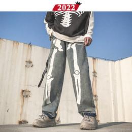 Wholesale jean overalls pants resale online – Men Skeleton Oversized Black Jeans Pants Denim Mens Streetwear Hip Hop Harem Pants High Wasit Denim Overalls