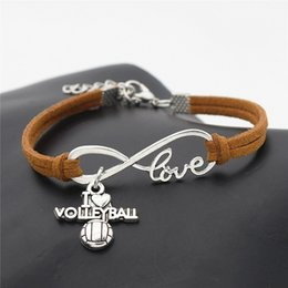 Wholesale Handmade Infinity Love I Heart Volleyball Soccer Basketball Baseball Football Sport Pendant Bracelet Brown Leather Suede Unisex Jewelry Gift