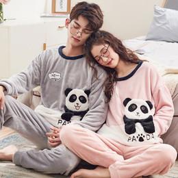 0d127bc2f3ce 2018 Winter Couples Flannel Warm Pajama Sets for Women Long Sleeve Coral  Velvet Pyjama Cute Cartoon Panda Sleepwear Men Homewear