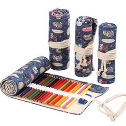 $enCountryForm.capitalKeyWord Australia - Mini Cute Roll School Pencil Case Large Penal 12 24 36 48 72 Holes Pencilcase Canvas Big Pen Bag Stationery Box Pouch