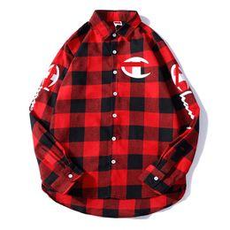 Ss Shirts NZ - SS mens designer shirt luxury men shirts champions brand high quality shirt printing embroidery women casual spring comfortable plaid shirt