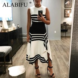 Black White Striped Dress Sleeves Australia - Alabifu Plus Size Striped Summer Dress Women 2019 Casual Patchwork Dress Sexy Long Party Dress Black White Vestidos Ukraine 3xl Y19051001