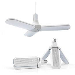 Living fan online shopping - 45W E27 LED Bulb SMD2835 leds Super Bright Foldable Fan Blade Angle Adjustable Ceiling Lamp Home Energy Saving Lights