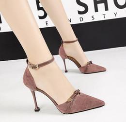 $enCountryForm.capitalKeyWord Canada - Dress Shoes High-heeled Sandals Female Summer New Word Buckle With Pointed Stiletto Heels Professional OL Sexy Fashion High Heels