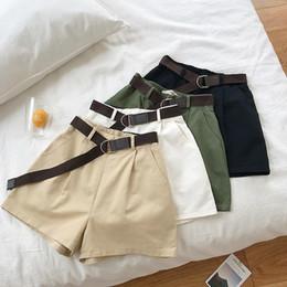 $enCountryForm.capitalKeyWord Australia - Safari Style Formal Casual Short Women Wide Leg Elastic High Waist With Sashes Trouser Korean Student Casual Khaki Black Bottoms Y19071601
