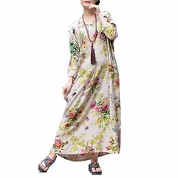 bohemian cotton maxi dress plus size Australia - Plus Size Ladies Dresses Dress Boho Women Casual Cotton Linen Maxi Dress Vintage Floral Print Robe Female Autumn Winter Long Dresses