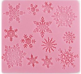 Lace siLicone moLd mouLd fondant online shopping - New Bar D christmas decorations snowflake Lace chocolate Party DIY fondant baking cooking cake decorating tools silicone mold