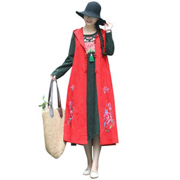 $enCountryForm.capitalKeyWord UK - 2018 Women Long Hooded Waistcoat Floral Butterfly Embroidery Sleeveless Single Breasted Casual Outwear Vest Vintage Maxi Gown