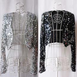 $enCountryForm.capitalKeyWord NZ - Singer Costume Nightclub Sequined Long Sleeve Coat Jacket Dj Ds Outfits Women Adult Pole Dance Clothing Performance Wear DN2557