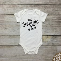 Cheap spring summer Clothes online shopping - Cute Baby Onesies Newborn White Bodysuit Infant The snle is real Letter print Cotton Baby boy Girl clothes Summer Cheap