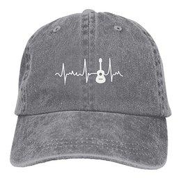 2019 New Custom Bonés de Beisebol Impressão Hat Acoustic Guitar Heartbeat Mens Algodão Ajustável Lavado Sarja Boné de Beisebol chapéu