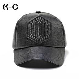 $enCountryForm.capitalKeyWord Australia - 2019 Fashion New Winter Men Faux Leather Baseball Cap Snap Back Hat for Men Casual Baseball Cap Dad Hat