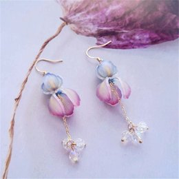 $enCountryForm.capitalKeyWord Australia - O tree hand made hot shrinkage piece of three-dimensional irises pearl tassel long earrings, 925 silver plating of gold