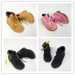 rubber cat shoes girls Australia - Baby Cat Kids Juniors Tire Leather Martin Boots Children Boy Girl High Quality Classic Yellow Pink Black Outdoor Casual Shoes Size EUR28-35