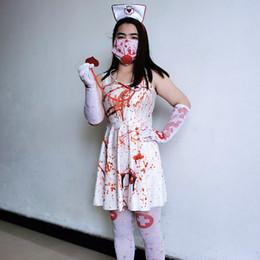 Halloween Terror infirmière Robe Suspenders Stethoscope Gants Bandeau sockings cosplay sexy Set Vêtements Mode Femme en Solde