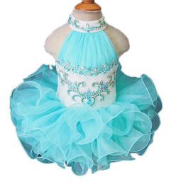 $enCountryForm.capitalKeyWord Australia - Baby Girls Halter Beadings Pageant Cupcake dress Toddler Mini Tutu Short Gowns Newborn First Birthday Party Dress