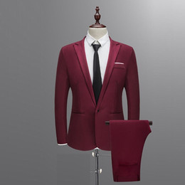 Branded white Blazers for men online shopping - Brand Men Suit Wedding Suits for Men Shawl Collar Pieces Slim Fit Burgundy Suit Mens Royal Blue Tuxedo Jacket SH190916