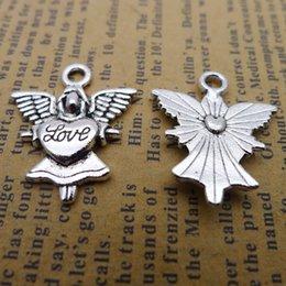 100 pz 20 * 24mm Antico tibetano Argento amore angelo fata ciondoli per il braccialetto pendenti in lega di metallo dell'annata fai da te monili che fanno ornamento