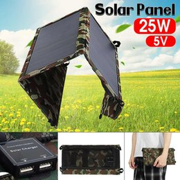 portable power bank solar panel UK - 25W 5V Portable Solar Panel Charger Folding Waterproof Dual USB Solar Charger Solar Panels Power Bank For Smartphones Outdoor