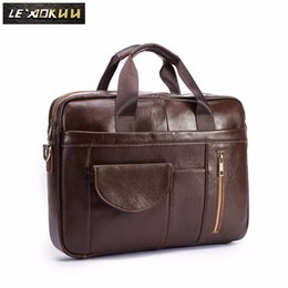 Wholesale Men Oil Waxy Leather Antique Design Brown Business Briefcase quot Laptop Document Case Attache Messenger Bag Tote Portfolio