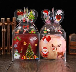 snowman boxes NZ - 600pcs Personalised Christmas Even Clear Gift Box Xmas Printed Snowman Elk Santa Tree Treats Sweets Candy Apple PVC Boxes favou