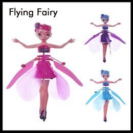 wholesale plastic figures Australia - Newest Mini RC Aircraft Flying Fairy Doll Electric Induction RC Drone Helicopter Toy Fairy Tale Figures Christmas Gift for Girls