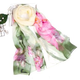 Chinese Floral Paintings Australia - 160*50 cm High Quality Super Thin Chinese Painting Style Flower Pattern Silk-like Ladies Women Long Scarf Beach Shawl