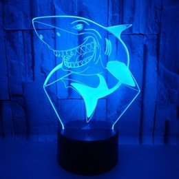 $enCountryForm.capitalKeyWord Australia - 2018 Foreign Trade New Shark 3d Small Night-light Colorful Touch Remote Control Led Vision Lamp Gift Atmosphere Desk Lamp