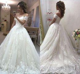 $enCountryForm.capitalKeyWord Australia - 2019 White Ivory A-line Wedding Dress Elegent Lace Off Shoulder Bridal Gown Ball Gown Long Sleeve Wedding Gown Custom Made