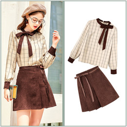 bae37335381 Spring Preppy Style Clothing Sets Runway Designer 2 piece set women Bow  O-Neck Plaid shirt Blusas Tops And Pleated Skirts DL025