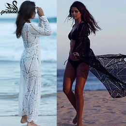 $enCountryForm.capitalKeyWord NZ - Long Crochet Beach Cover Up Robe De Plage Swimsuit Cover Up Saida De Praia Longa Women Bathing Suit Cover Up Tunics For Beach T190710