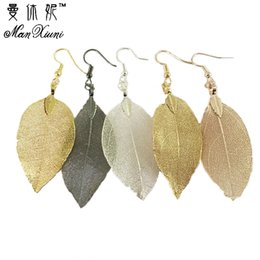 Wholesale natural leaf jeWelry online shopping - 2018 Fashion Bohemian Long Earrings Unique Natural Real Leaf Big Earrings For Women Jewelry Gift oorbellen pendientes mujer mod