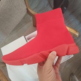 Shoe Factories NZ - Pure Red Sock Shoes Factory Direct Casual Shoe New Color Speed Trainer Sneakers Speed Trainer Sock Race Runners Outdoor Hiking Shoes2019