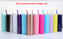 Cup straws online shopping - 20 ounce thin tumbler stainless steel vacuum flask vacuum insulated straight glass beer coffee cup with lid and straw cup