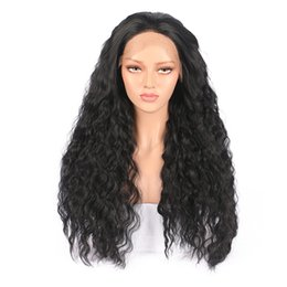 lifelike wigs NZ - Woman Lace front wigs Long curly Synthetic hair Wigs 18-26inch Natural black Corn scalding High quality Lifelike Realistic