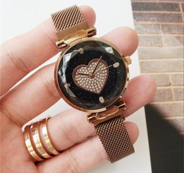 Women Watch Beauty Australia - Popular Casual Heart Shape Dial Face Women watch Steel Mesh Beauty Dwellers Wristwatch Lady watches Dress watch free shipping