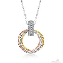 $enCountryForm.capitalKeyWord Australia - Unique Designed Necklaces S925 Sterling Silver Tri-color Coil Mosaic Zircon Pendant Necklace Accessories Ladies Anniversary Gifts POTALA058