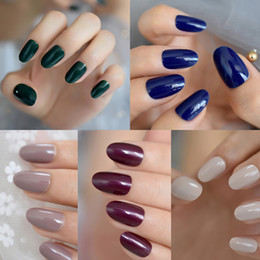 $enCountryForm.capitalKeyWord NZ - 24pcs set Blue Nude Full Cover False Nails Short Round Soft Pure Color Green Oval UV Gel Fake nails Artificial Art Tips