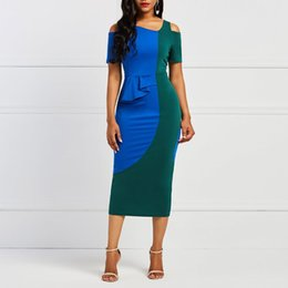Hollow Blocks Australia - Women Off Shoulder Bodycon Dress Elegant Party Stylish Patchwork Color Block Hollow Summer Casual Sexy Slim Female Midi Dresses